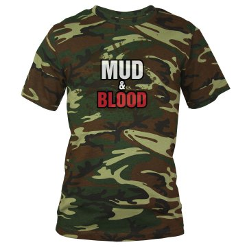 Mud &amp; Blood Mud Run Team Unisex Code V Camouflage Tee