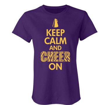 Keep Calm And Cheer On Junior Fit Bella Sheer Longer Length Rib Tee