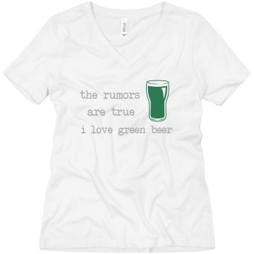 Green Beer Rumors Misses Relaxed Fit Anvil V-Neck Tee