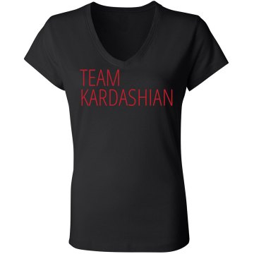 Team Kardashian Junior Fit Bella Sheer Longer Length Rib V-Neck Tee