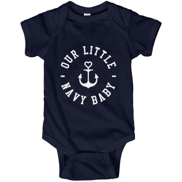 Distressed Anchor Onesie Infant Rabbit Skins Lap Shoulder Creeper