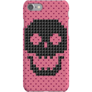 Pink Hearts And Skull Plastic iPhone 5 Case White