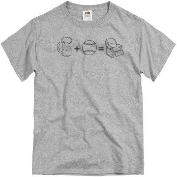 Beer, Baseball, Recliner Unisex Basic Gildan Heavy Cotton Crew Neck Tee