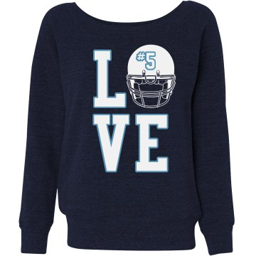 Football Love Junior Fit Bella Triblend Slouchy Wideneck Sweatshirt
