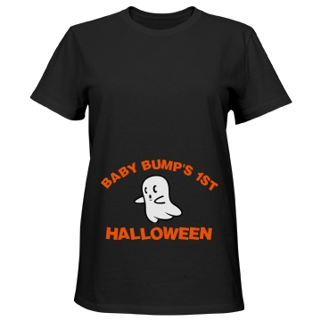 Baby Bump's 1st Halloween Misses Relaxed Fit Port & Company Essential Tee