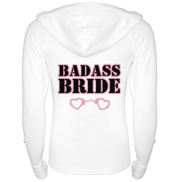 Badass Bride Junior Fit Bella Long Sleeve 1/2 Zip Hooded Pullover Tee
