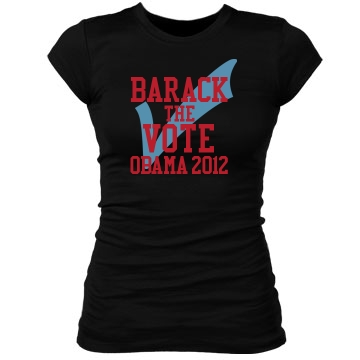 Barack the Vote Junior Fit Bella Sheer Longer Length Rib Tee