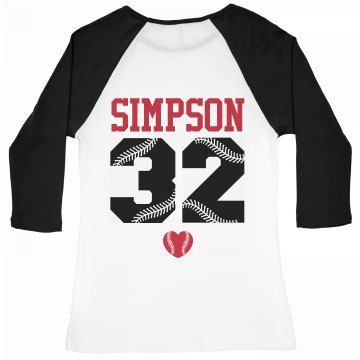 Baseball Girlfriend Fan Junior Fit Bella 1x1 Rib 3/4 Sleeve Raglan Tee