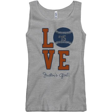 Baseball Love Tank Junior Fit Basic Bella 2x1 Rib Tank Top