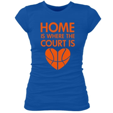 Basketball Court Junior Fit Bella Sheer Longer Length Rib Tee