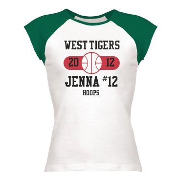 Basketball Tee w/ Name Junior Fit Bella 1x1 Rib Cap Sleeve Raglan Tee