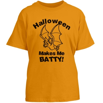 Batty Halloween Youth Youth Gildan Heavy Cotton Crew Neck Tee