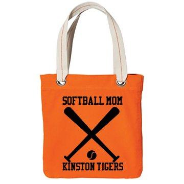 Softball Mom w/ Back Port Authority Color Canvas Tote