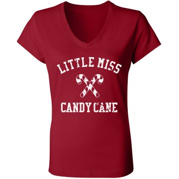 Little Miss Candy Cane Junior Fit Bella Sheer Longer Length Rib V-Neck Tee