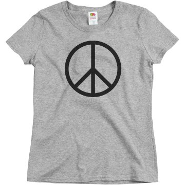 Peace Please Rhinestones Junior Fit Bella Sheer Longer Length Rib Tee