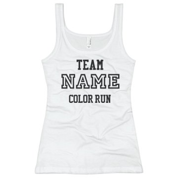 Color Run Your Team Name Junior Fit Basic Bella 2x1 Rib Tank Top