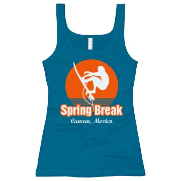 Spring Break Surfer Tank Junior Fit Bella Sheer Longer Length Rib Tank Top