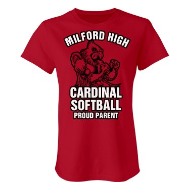 Cardinal Softball Parent Junior Fit Bella Crewneck Jersey Tee