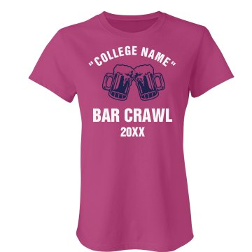 College Bar Crawl Junior Fit Bella Sheer Longer Length Rib Tee