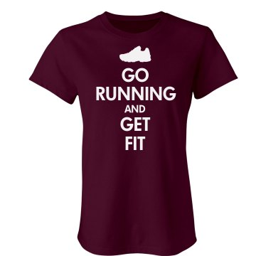Keep Calm Go Running Junior Fit Bella Crewneck Jersey Tee