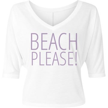 Beach Please Flower Bella Flowy Lightweight V-Neck Half-Sleeve Tee