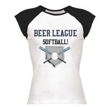 Beer League Softball Junior Fit Bella 1x1 Rib Cap Sleeve Raglan Tee