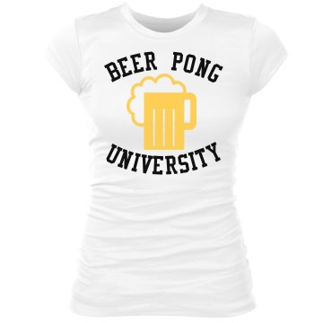 Beer Pong Univ tee Junior Fit Bella Sheer Longer Length Rib Tee