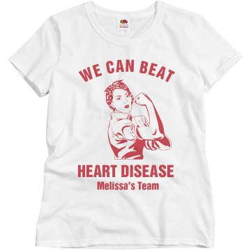 We Can Beat Heart Disease Misses Relaxed Fit Basic Gildan Heavy Cotton Tee