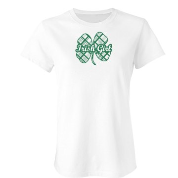 St. Patrick&#x27;s Irish Girl Junior Fit Bella Double V Sheer Jersey Tee