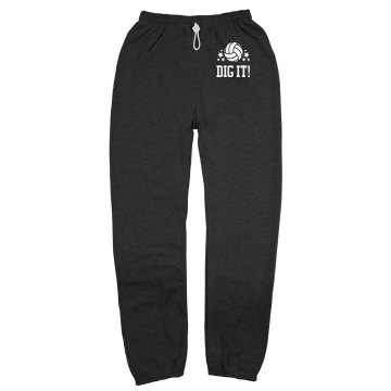 Dig It Volleyball Sweats Unisex Gildan Ultra Blend Open Bottom Pocketed Sweatpants