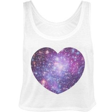 Big Galaxy Heart Bella Flowy Boxy Lightweight Crop Top Tank Top