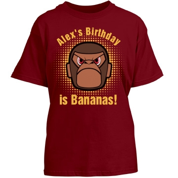 Birthday Is Bananas Youth Gildan Heavy Cotton Crew Neck Tee
