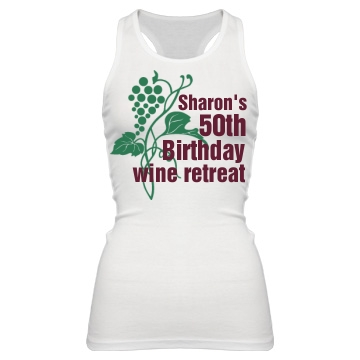 Birthday Wine Retreat Junior Fit Bella Sheer Longer Length Rib Racerback Tank Top
