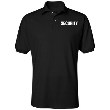 Black Security Unisex Jerzees Spotshield Polo Shirt
