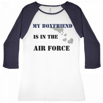 Boyfriend in Air Force Junior Fit Bella 1x1 Rib 3/4 Sleeve Raglan Tee