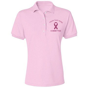 Breast Cancer Committee Misses Relaxed Fit Jerzees Spotshield Polo Shirt