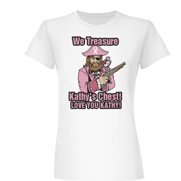 Breast Cancer Pirate Tee Junior Fit Basic Bella Favorite Tee