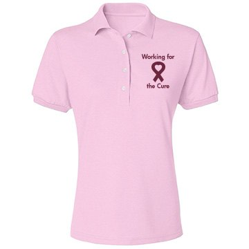 Breast Cancer Support Misses Relaxed Fit Jerzees Spotshield Polo Shirt