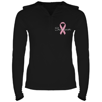 Breast Cancer Survivor Junior Fit Bella Long Sleeve 1/2 Zip Hooded Pullover Tee