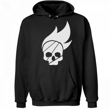 Burning Skull Hoodie Unisex Hanes Ultimate Cotton Heavyweight Hoodie