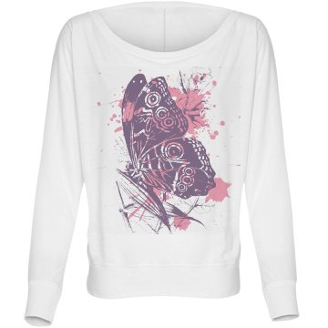 Butterfly Splatterfly Bella Flowy Lightweight Long Sleeve Dolman Tee