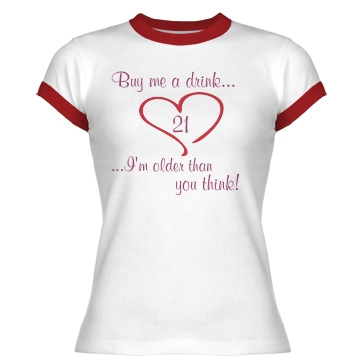Buy Me A Drink Junior Fit Bella 1x1 Rib Ringer Tee