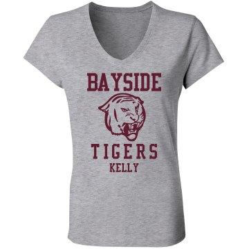 Bayside Tigers Junior Fit Bella Sheer Longer Length Scoopneck Tee