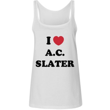 I Love AC Slater Junior Fit Bella 1x1 Rib Ringer Tee