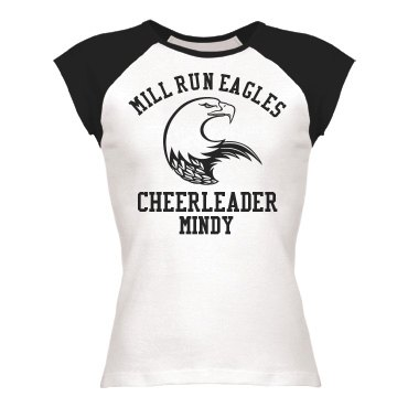 Eagles Mascot Cheerleader Junior Fit Bella 1x1 Rib Cap Sleeve Raglan Tee
