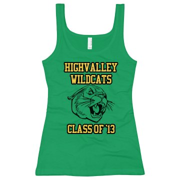 Wildcat Tank Junior Fit Bella Longer Length 1x1 Rib Tank Top
