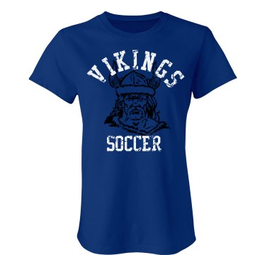 Vikings Soccer Distessed Junior Fit Bella Crewneck Jersey Tee