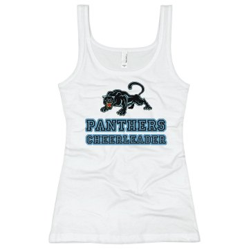 Panthers Cheer Tank Junior Fit Bella Longer Length 1x1 Rib Tank Top