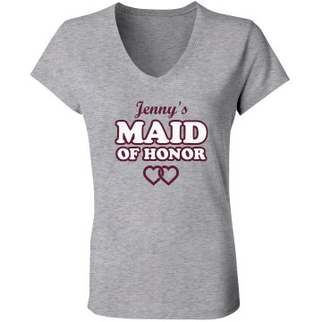 Maid Of Honor Junior Fit Bella V-Neck Jersey Tee