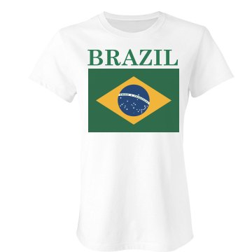 Brazil Soccer Shirt Junior Fit Bella Sheer Longer Length Rib Tee